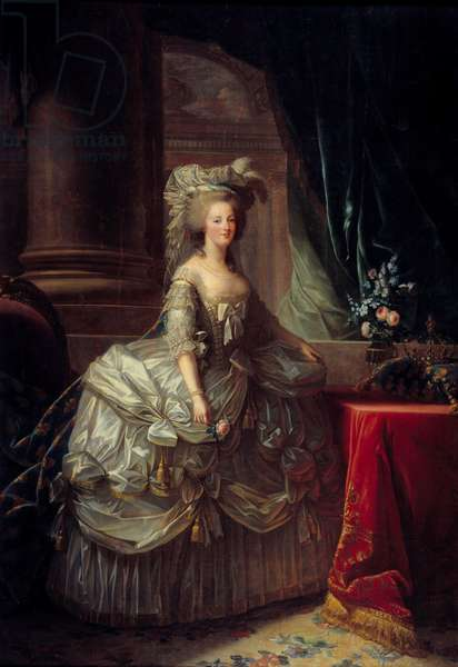 Portrait of Queen Marie Antoinette (1755 - 1793). Painting by Marie Elisabeth Louise Vigee Le brun (or Vigee-Lebrun or Vigee Lebrun) (1755-1842). 19th century. Oil on canvas. Dim: 2.76 x 1.93m.  - Full-length portrait of Queen Marie Antoinette (1755-1793). Painting by Marie Elisabeth Louise Vigee Le Brun (or Vigee-Lebrun or Vigee Lebrun) (1755-1842). 19th century. Oil on canvas. 2.76 x 1.93 m.