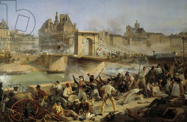 Revolution of 1830, day of July: attack on the hotel de Ville de Paris and fight on the bridge of Arcole, July 28 1830 (oil on canvas)