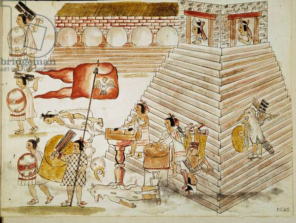 """Conquete of Mexico: destruction of Tenochtitlan, capital of the Aztec empire, by the armees of the conquistador Hernan Cortes (Hernando Cortez) (1485-1547) on 24/06/1520"""""""" Miniature from a manuscript, 16th century. Paris, B.N."""