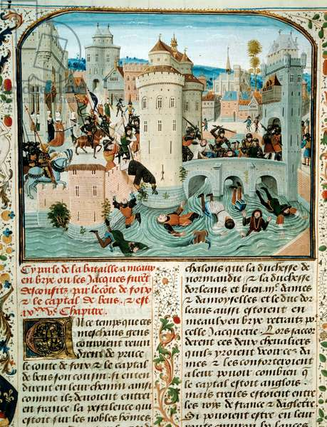 """100-year war. Massacre of the Jacques a Meaux: the Jacques are cut into pieces and jetes in the Marne, in Meaux, by Gaston Phebus (1331-1391) Count of Foix and Captal of Buch in 1357. Miniature of Loyset Liedet in """""""" Chronicles"""""""" by Jean Froissart (1337 - 1400), 14th century. Paris. B N"""