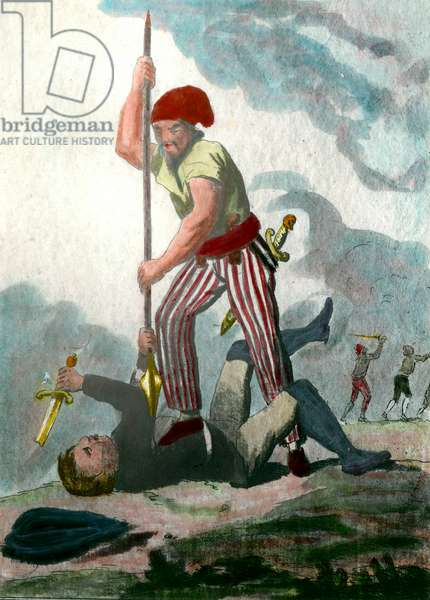 "French Revolution: """" Le sans panlotte intrepide"""" A non-panties with a phrygian cap appreses to push a spear into the heart of an opponent. Watercolour of the 18th century. Private collection"