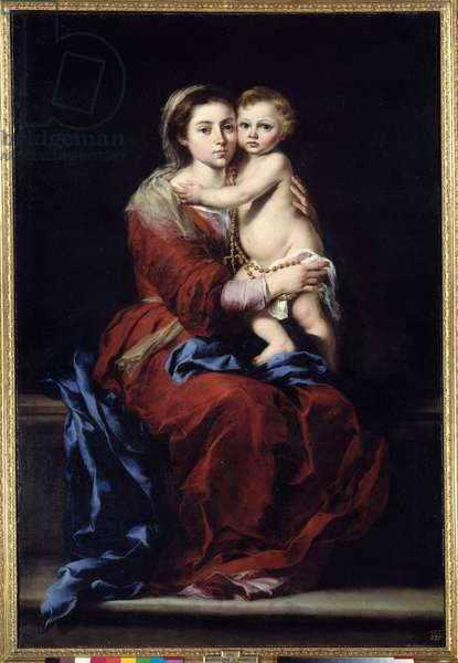 The virgin of the rosary. Madonna has the child. Painting by Bartolome Murillo (1618-1682), 17th century. Oil on canvas. Dim: 1,64 x 1,10m. Madrid, Musee Du Prado - The Virgin of the Rosary. Madonna with the child. Painting by Bartolome Murillo (1618-1682), 17th century. Oil on canvas. 1.64 x 1.10 m. Prado Museum, Madrid