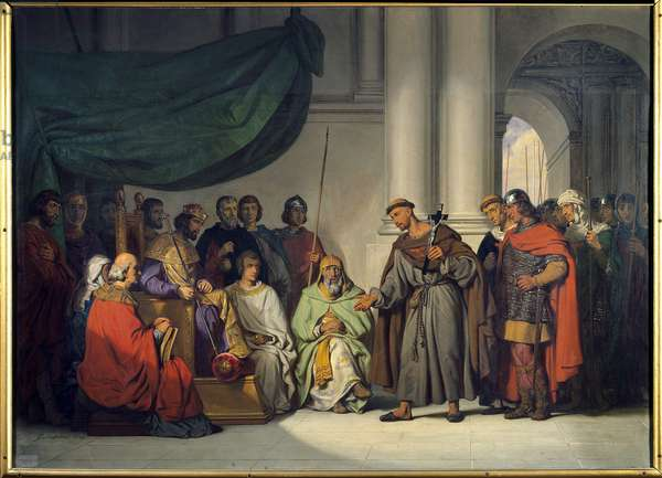 """First Crusade: """""""" The Eastern Emperor Alexis Comnene (1048-1118) receives Peter the Hermit who came to exhort him to the Crusade in Constantinople in August 1096"""""""" Painting by Gillot Saint Evre (1791-1858) 1839 Sun. 0,98 x 1,36 m Versailles. Chateau Museum"""