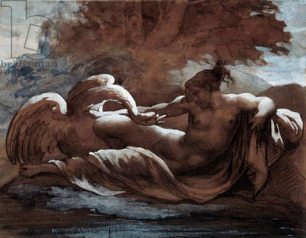 Leda and the swan. Drawing by Theodore Gericault (1791-1824), 19th century. Dim: 0.21 X 0.28m. Paris, Musee Du Louvre