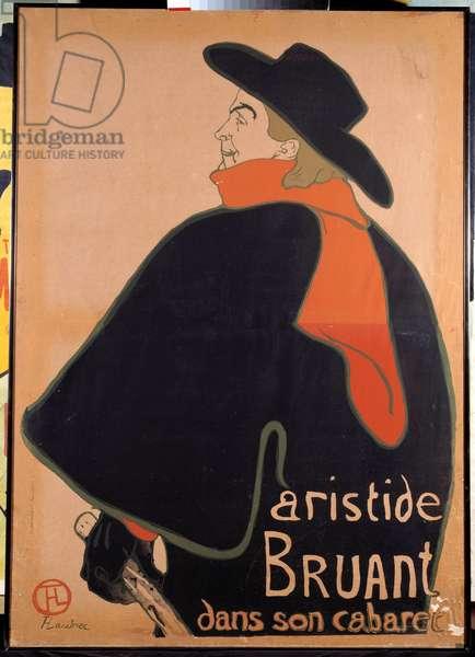 Poster depicting Aristide Sparrow (1851-1925) in his cabaret. Lithograph by Henri de Toulouse-Lautrec (Toulouse Lautrec) (1864-1901). 1893. Paris, Museum of Poster and Advertising