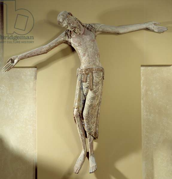 Christ of the cross also says Christ Courajod. Element of a Descent of the Cross. Unknown Oigine, 2nd quarter of 12th century. French school. Gold sculpture in Maple (wood), polychrome. Louvre Museum