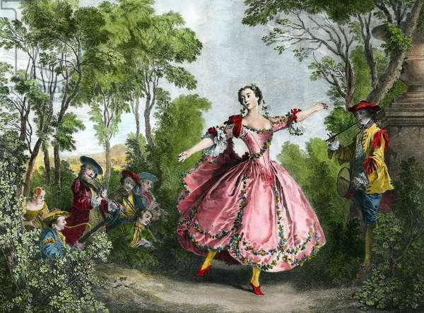 Portrait of Marie Anne de Cupius de Camargo dit La Camargo (1710-1770) dancer Engraving of the 18th century Paris. Library Museum of the Opera