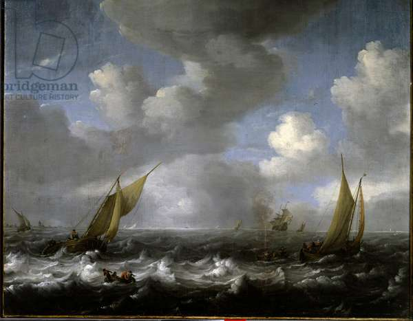 Navy. Painting by Ludolf Backhuysen (1631-1708) Ec. Hol., 17th century. Le Havre, Musee des Beaux Arts.