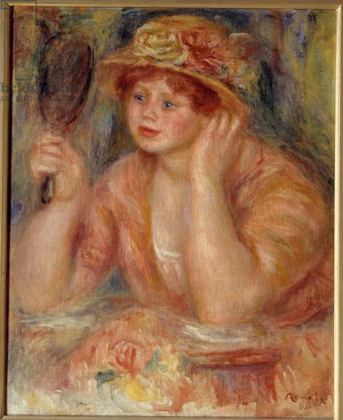 The woman in the mirror. Painting by Pierre Auguste Renoir (1841-1919), 19th century. Oil on canvas. Dim: 0,60 x 0,47m. Rouen, Museum of Fine Arts