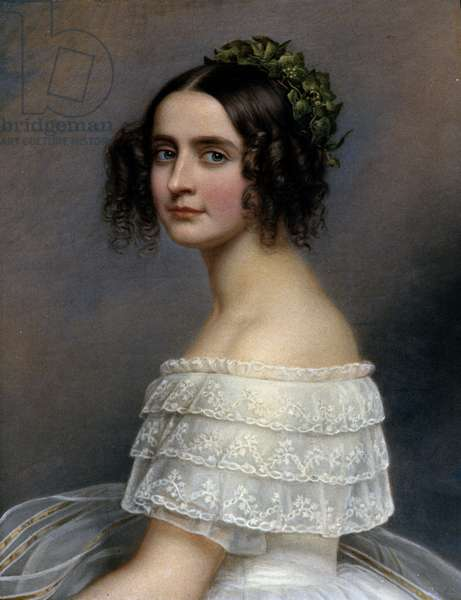 Portrait of Princess Alexandra de Baviere (Alexandra Amalie von Bayern, Alexandra of Bavaria) (1826-1875) - Painting by Joseph Karl Stieler (1781-1858) Ec. All, 1845, 71.5 x 59.2 cm. Munich, Galerie des Beautes, Chateau De Nymphenburg, Germany
