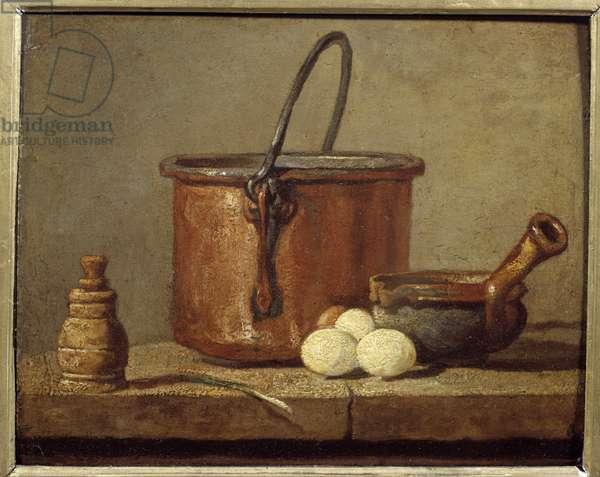 Kitchen utensils, cauldron, poelon and eggs Painting by Jean baptsite Simeon Chardin (1699-1779) 18th century Sun. 0,21x0,17 m