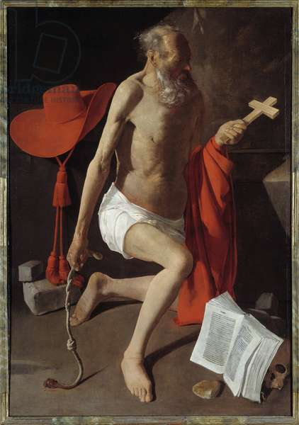 Saint Jerome Penitent. Painting by Georges De La Tour (1593-1652), 17th century. Oil on canvas. Dim: 1,52 X 1,09m. Stockholm, National Museum