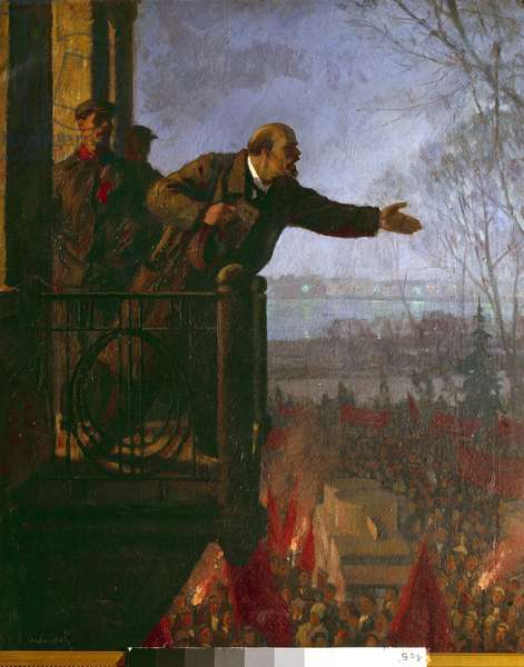 """Russian Revolution: """""""" The Russian Revolutionary and Politician Lenin (Vladimir Ilyich Ulyanov, 1870-1924) on the balcony of the Csechinskaia house at night (April 1917)"""""""" In this speech, he enforces his """"April theses"""" proclaiming that the whole of Europe is on the eve of a socialist revolution and that the Marxists must overthrow the government provisional. Anonymous painting of the 20th century. Saint Petersburg, State Museum of Political History of Russia - Russian Revolution: The Russian revolutionary and politician Lenin (Vladimir Ilyich Ulyanov, 1870-1924) on the balcony of the Kschessinska Mansion in the night (April 1917). In this speech, he spells out his """""""""""""""" April Theses"""""""""""""""", proclaiming that the whole of Europe is on the eve of socialist revolution and that Marxists must overthrow the Provisional Government. Anonymous painting of the 20th century. State Museum of Political History of Russia, St. Petersburg, Russia"""
