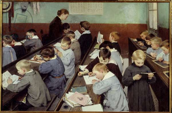 In class, the work of the little ones. Young boys in school blouse study in a classroom, some read, others write on their notebook or on slates. Painting by Jean Henri Jules Dit Geo Geoffroy (1853-1924), 1889. Paris, Ministry of Education Nationale - The Children's Class. Young boys in smocks studying in a classroom, some reading, the other writing on their exercise books or on slates. Painting by Henri-Jules-Jean Geoffroy also called Geo Geoffroy (1853-1924), 1889. Ministry of National Education, Paris