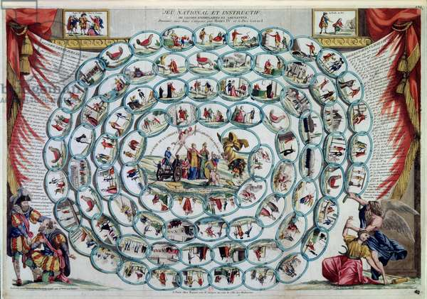 """Goose game """""""" National and informative game or exemplary and fun lessons given by Henry IV and Father Gerard"""". A game dating from the revolution that depicts the morals, politics and values of French society starting from equality and arriving at the Constitution with a horn of abundance Paris, BN."""