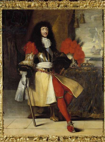 Portrait in foot of Louis XIV, King of France and Navarre (1638-1715) - circa 1665-1670 (battleship with crown and sceptre posed on the table, in front of a maritime landscape with a boat) Painting by Claude Lefebvre (1632-1675) Around 1670 Sun. 1,96x1,55 m.  - Full-length portrait of Louis XIV, King of France and of Navarre (1638-1715) - circa 1665-161- in armour with the crown and the sceptre on the table before a seascape with a ship. Painting after Claude Lefebvre (1632-1675), circa1670. Sun 1.96 x1, 55 m.