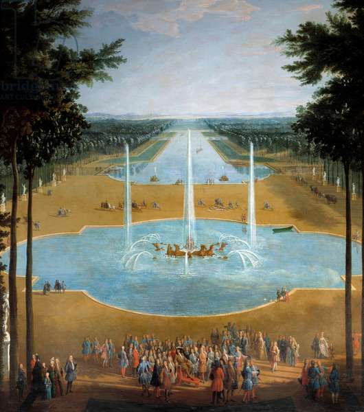 View of the basin of Apollo and the Grand Canal of Versailles in 1713, in the foreground: King Louis XIV (1638-1715) has the promenade around 1713 Detail of a painting by Pierre Denis Martin (1663-1742) Sun. 2,6x1,3 m