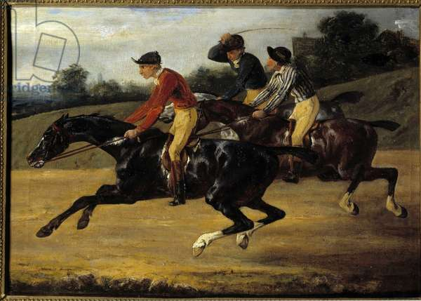 "Horse Racing: """" Horses mounted to the left gallop"""" Painting by Theodore Gericault (1791-1824), 1824. Sun 0,27x0,37m"