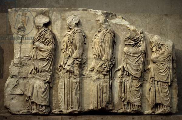 Greek Art: East frieze of the Parthenon in Athens: five women in procession. 438-432 BC. London. British Museum