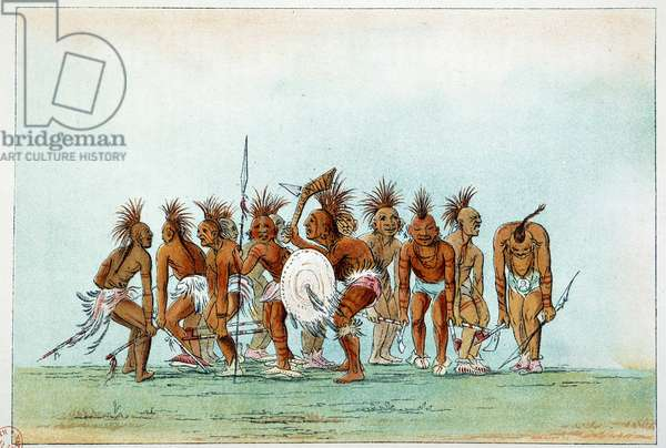 Indians of America: Black Hawk tribe dancing beggar dance for tourists. Illustration by George Catlin (1794-1872), 19th century. Paris, B N