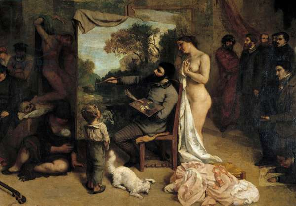 The Painter's Workshop. Allegorie Reelle determining a seven-year phase of my artistic life (and moral) Detail depicting the painter surrounds her two sources of inspiration, a child symbolizing naivete and a naked woman. Painting by Gustave Courbet (1819-1877), 1855. Oil on canvas, 3.61 x 5.98m. Musee d'Orsay.