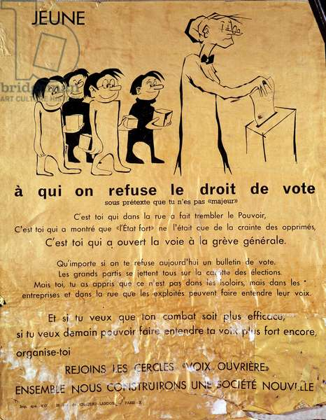 "May 1968: poster on the refusal to give minors the right to vote and encouraging them to join the circles """" Workers' Voices"""" to make their voices heard. 1968 B.H.V.P. DR"