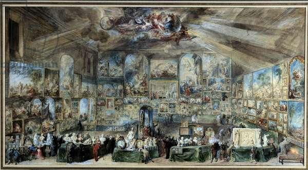 The amateur's office. Salon d'antiquaire or cabinet of curiosites. 1767. Watercolour by Gabriel de Saint Aubin (1724-1780) 1767. Rouen, Museum of Fine Arts