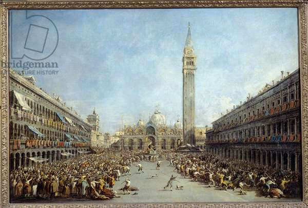 The doge of Venice Alvise IV carries by the gondoliers after his election Square Saint Mark in 1763 Painting by Francesco Guardi (1712-1792) 1770 Sun. 0,67x1 m Grenoble, Musee des Beaux Arts