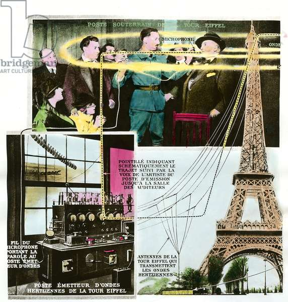 Transmission of a concert from Paris to Lille using the TSF (Wireless Telegraphy or T.S.F.) of the Eiffel Tower, 1922. Private collection.