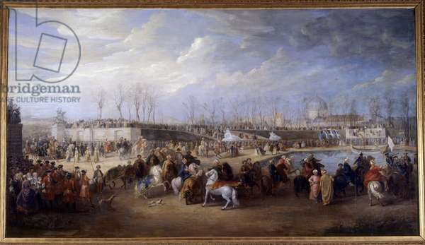 Reception of Mehemet Effendi Turkish ambassador to the great Sultan Achmet by King Louis XV on 21 March 1721 at the Tuileries Peinture de Charles Parrocel (1688-1752), 1723-1727. Sun 3,48x7 m Versailles, musee du chateau