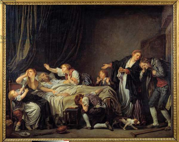 Son punished The son returns home and finds his family crying at the bedside of the dead father's bed. Painting by Jean Baptiste Greuze (1725-1805) 1778 Sun. 1,3x1,63 m