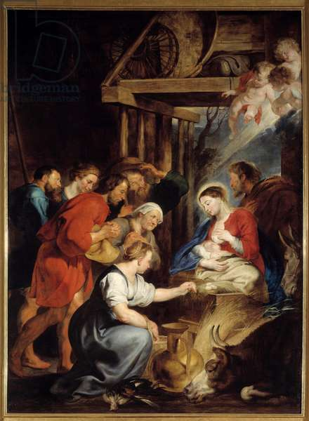 The Adoration of the Shepherds Painting by Pierre Paul (Pierre-Paul) Rubens (or Peter Paul or Petrus Paulus) (1577-1640) 17th century Sun. 3,4x2,48 m Rouen, Musee des Beaux Arts