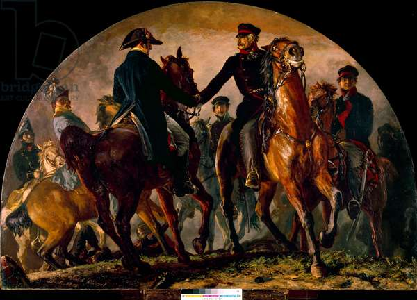 Meeting of Gebhard Leberecht von Blucher (1742-1819) and Arthur Wellesley Wellington (1769-1852), at the Battle of La Belle Alliance (1815). Painting by Adolf Menzel (1815-1905) Ec. All, 1858. Dim: 2,20 x 3,02m. Munich, Neue Pinakothek