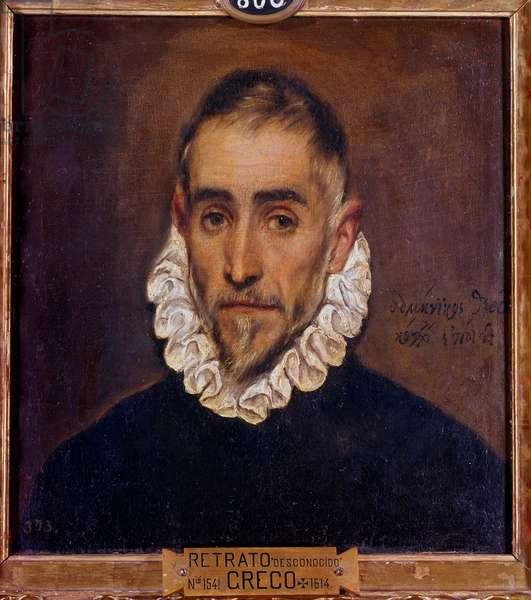Portrait of a Gentleman Painting by Domenikos Theotokopoulos dit El Greco (1541-1614) 1604 Sun. 0,64 x 0,51 m Madrid, Prado Museum