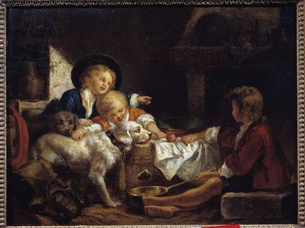 Children Three young children and two dogs in a barn. Painting of the French School. 18th century Private collection