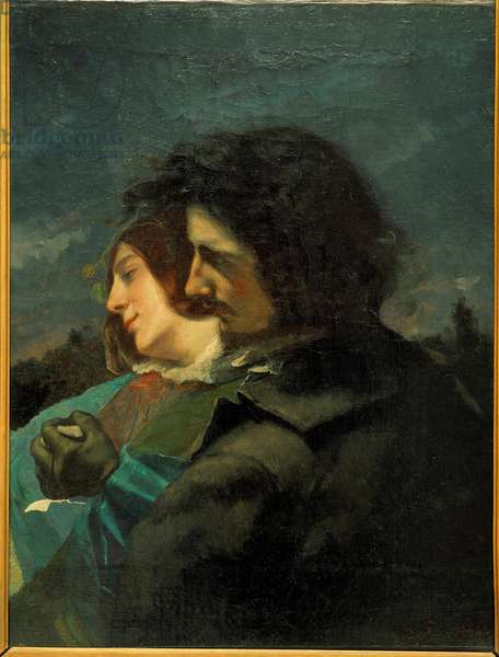 Happy lovers. Painting by Gustave Courbet (1819-1877), 1844. Oil on canvas. Dim: 0.77 X 0.60m. Lyon, Musee des Beaux Arts