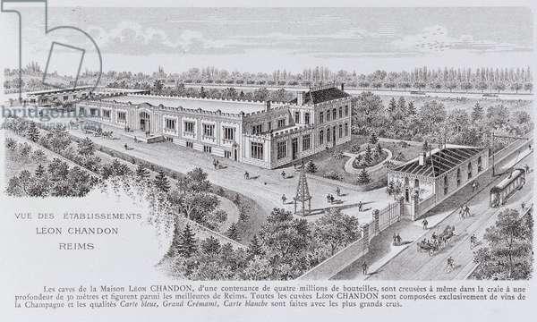 Manufacture of Champagne: Leon Chandon establishments in Reims - 20th century - Postcard