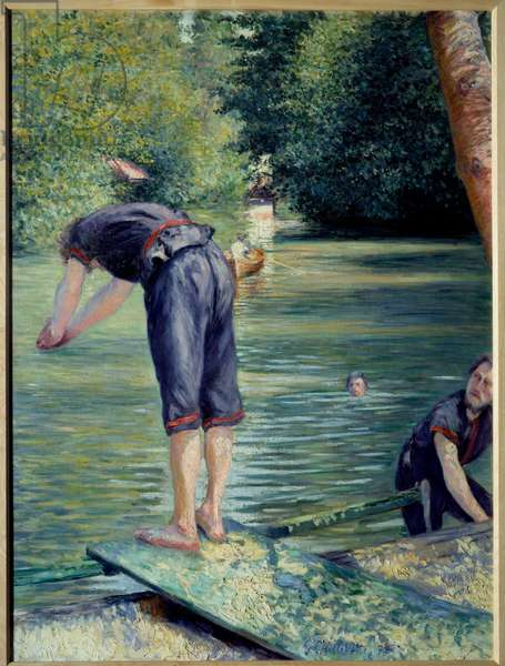 Bathers. Painting by Gustave Caillebotte (1848-1894), 1878. Oil on canvas. Dim: 1,10 x 1,55m Private collection. - Bathers. Painting by Gustave Caillebotte (1848-1894), 1878. Oil on canvas. 1,10 x 1,55 m. Private collection