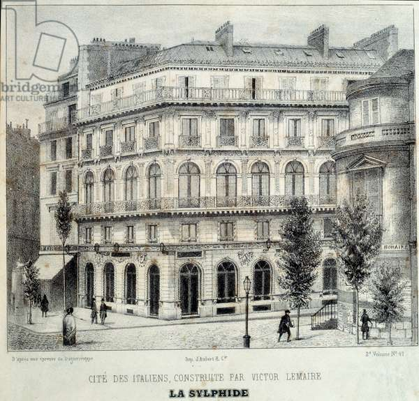View of the Maison Doree (or Maison d'Or) boulevard des Italians realized by the architect Victor Lemaire who conceived the fantasy of gilding the balconies and the frames of the bays, hence the name of the Parisian building. Engraving from 1839. Paris, Decorative Arts