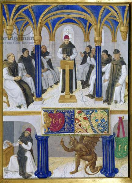"""Representation of Saint Bernard of Clairvaux (San Bernardo di Chiaravalle) (1090-1153) teacher and tent by the devil Miniature taken from """"The Book of Hours of Etienne Chevalier"""" by Jean Fouquet (1420-1477/1481), 15th century. Chantilly, Conde Museum"""