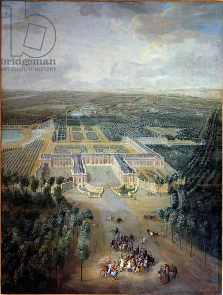Perspective view of the castle and gardens of Trianon: promenade of King Louis XV on horseback. Painting by Pierre Denis Martin (1663-1742). 18th century. Dim. 2.96 x 2.23 m. Versailles, musee du Chateau - Perspective view of the castle and gardens of Trianon: Louis XV's horse ride. Painting by Pierre Denis Martin (1663-1742). 18th century. 2.96 x 2.23 m. Muesum of the Castle, Versailles, France