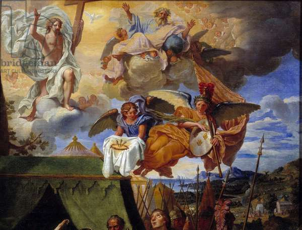 King Louis IX (Saint Louis) (1214-1270) caring for his soldiers Detail representing God and angels. Painting by Louis Licherie de Bury (1629-1687) 17th century Rouen, Musee des Beaux Arts