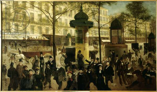 Sketch for a panorama of Boulevard Montmartre animates contemporary Parisian personalities, 1880 (oil on canvas)