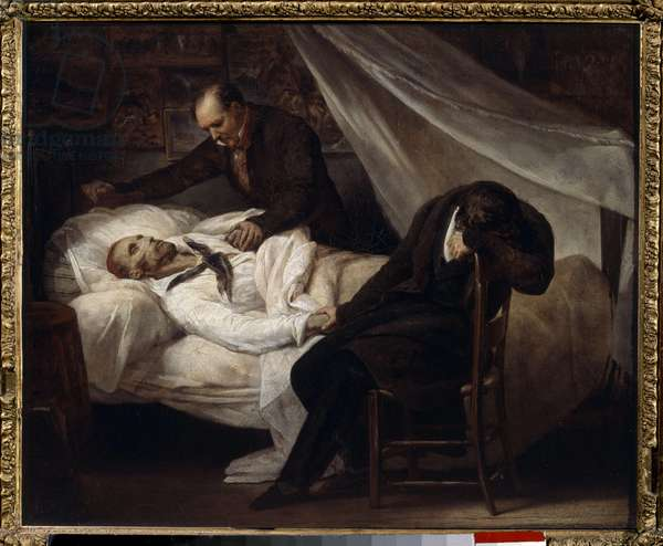 The Death of the Painter Theodore Gericault (1791-1824) January 26, 1824 Painting by Ary Scheffer (1795-1858) 1824 Sun. 0,36x0,46 m