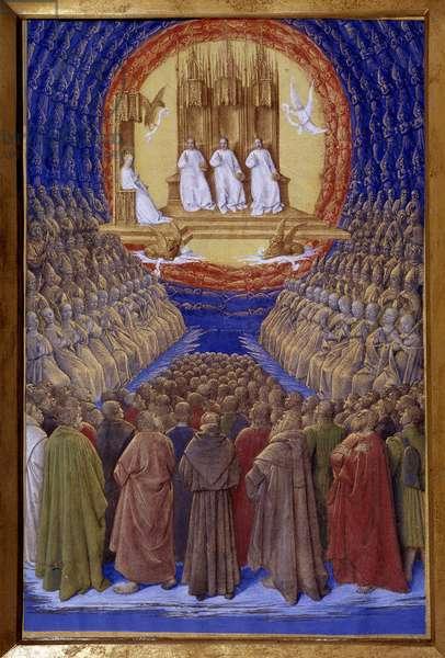 """La Sainte Trinite, le suffrage des Saints Miniature in """""""" Les Heures d'Etienne Chevalier"""""""" by Jean Fouquet (1420-1481), 1445. Chantilly, Musee Conde"""