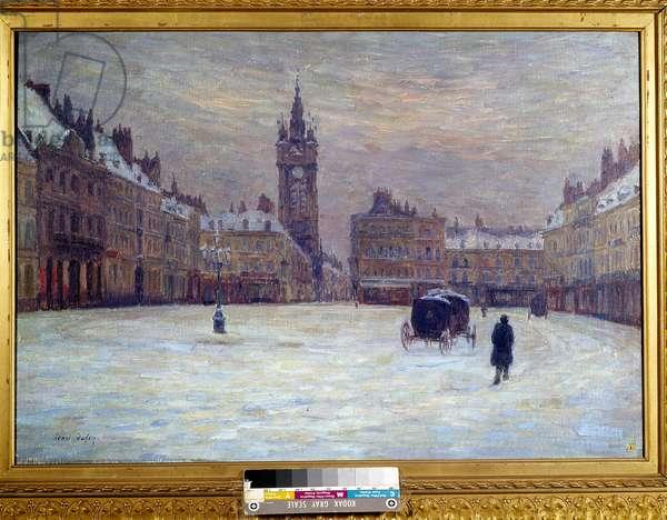 La place d'armes in Douai sous la neige Painting by Henri Duhem (1860-1941). 20th century. Douai, Musee de la Chartreuse DR