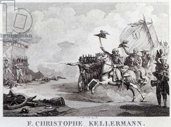 """French Revolution: """""""" the general and marechal Francois Christophe Kellermann (1735-1820) during the Battle of Valmy on 20/09/1792"""""""" Engraving by Louis Francois Couche (1782-1849) 18th century Paris, Musee Carnavalet"""