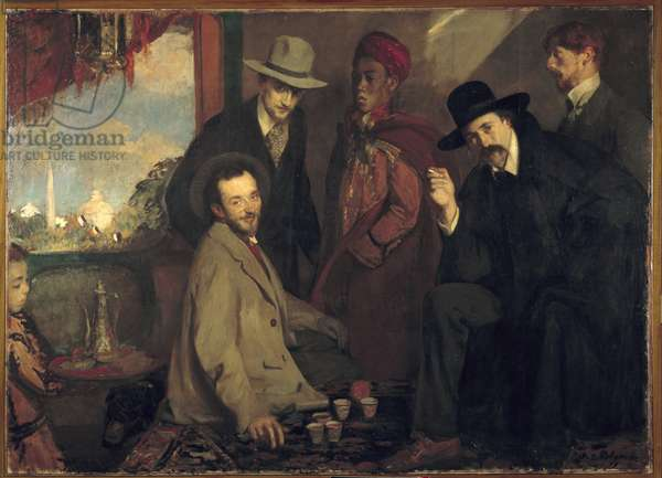 Andre Gide and his friends at the cafe Maure of the World Exposition of 1900 (Eugene Rouart; Charles Chanvin; Athman Ben Salah; Henri Gheon) Painting by Jacques Emile (Jacques-Emile) Blanche (1861-1942) 1900 Sun. 1,56x2,2 m Rouen, Musee des Beaux Arts