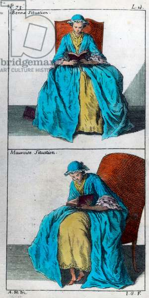 The art of prevent and correct in children deformmites of the body: good and bad position for reading. Engraving of the 18th century. Private collection.