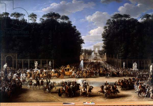 Napoleon and Marie Louise entered the Tuileries Garden (April 2, 1810). Painting by Etienne Garnier (1759-1849), 1810. Oil on canvas. Dim: 3,27 x 4,95m.
